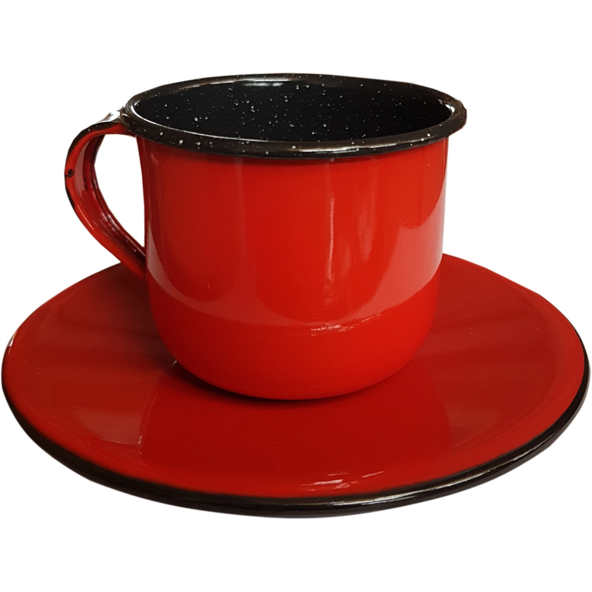 Xicaras com Pires Esmaltado Vermelho 120ml - Metallouca