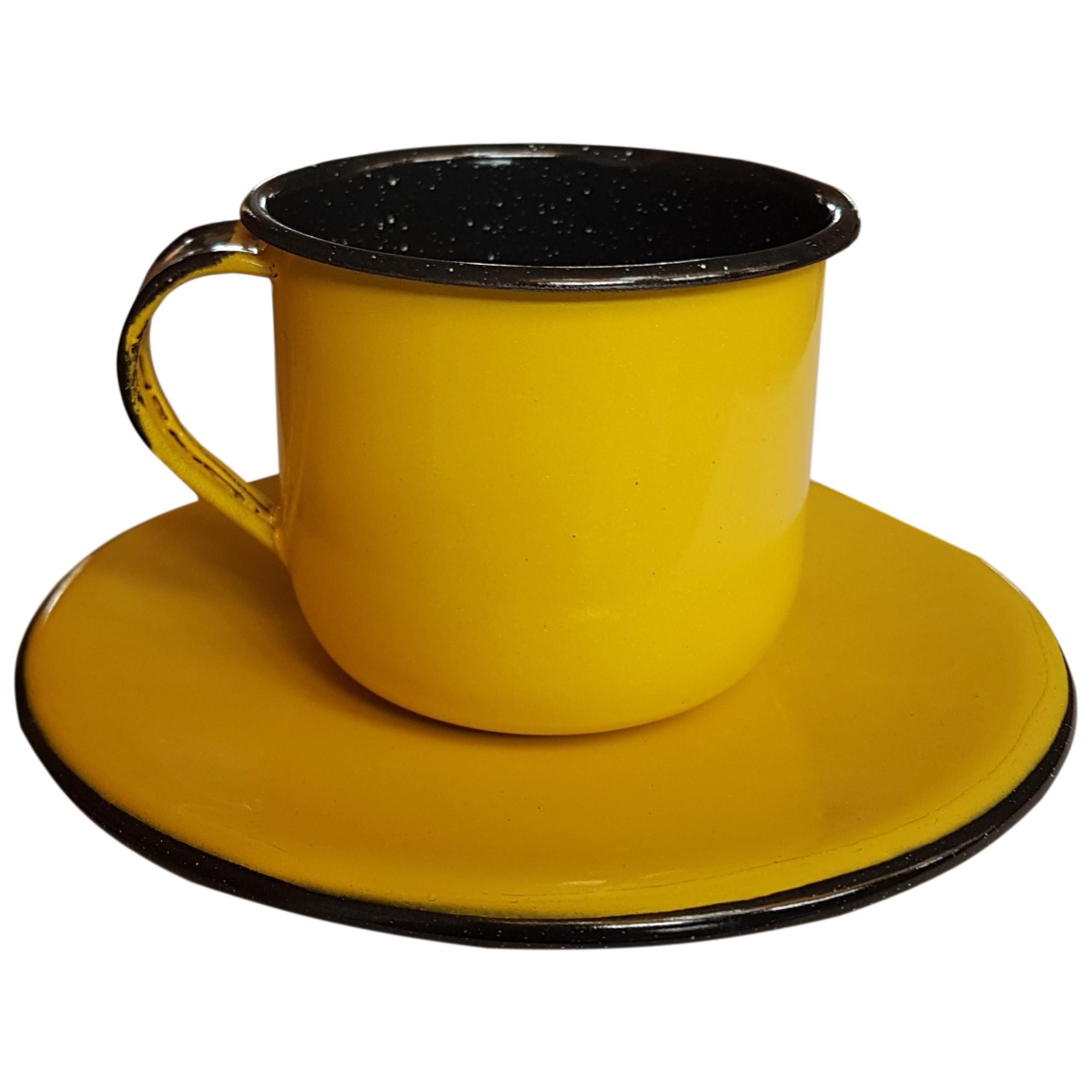 Xicaras com Pires Esmaltado Amarelo 120ml - Metallouca