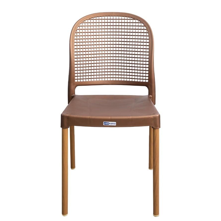 Cadeira Vintage Aluminio e Plastico Dourada - Forte Plastico