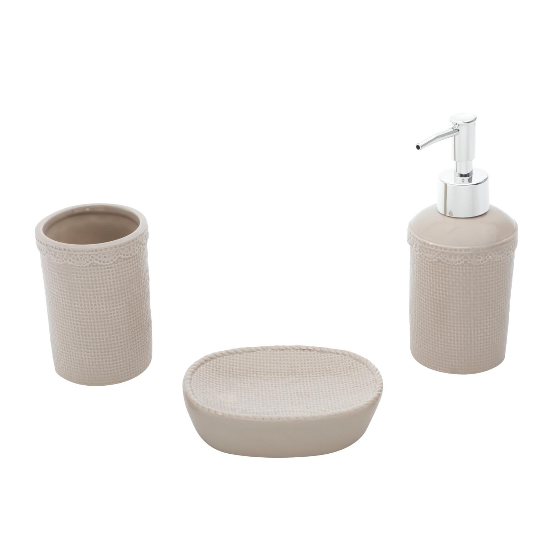 Jogo para Banheiro de Ceramica 3 Pecas Bege 43150 - Urban
