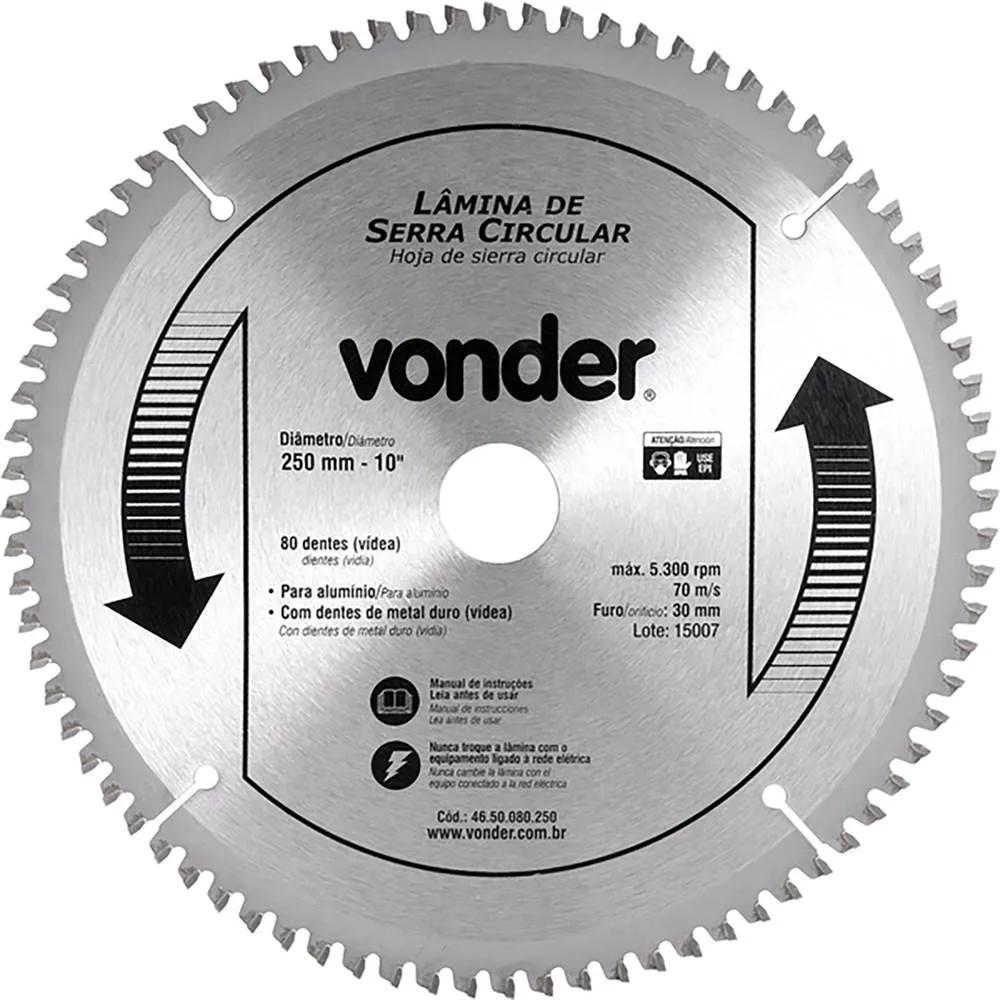 Disco de Serra De Esquadria 10 250x20x3000mm 80 Dentes - Vonder