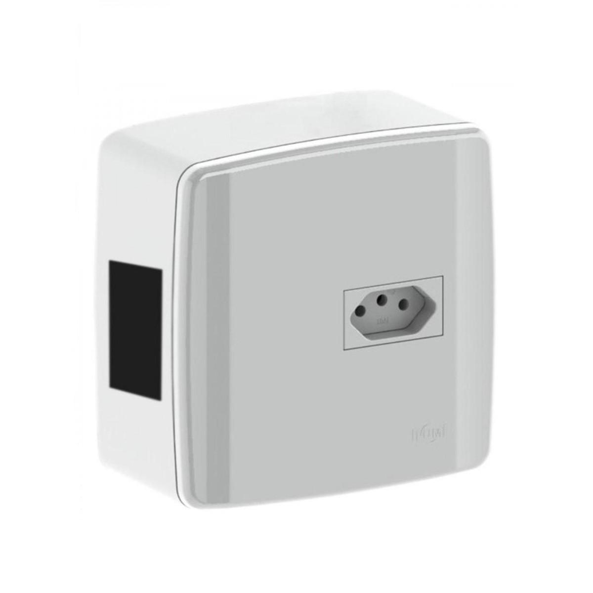 Kit de Caixa de Disjuntor Bipolar Tomada 2PT 20A de Sobrepor - Ilumi