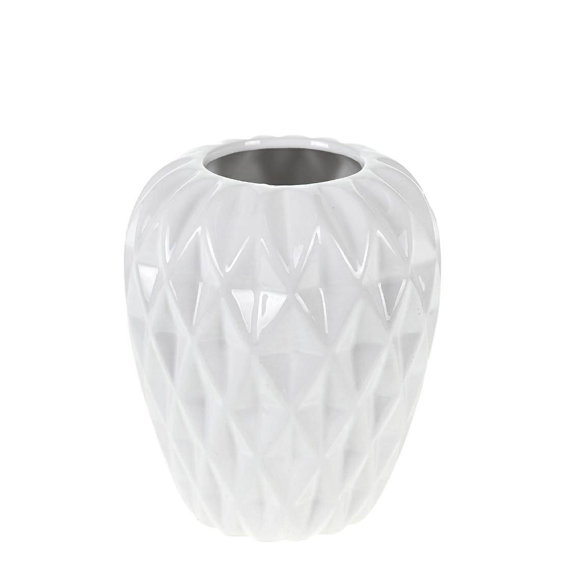 Vaso Decorativo de Ceramica Redondo 15cm Branco