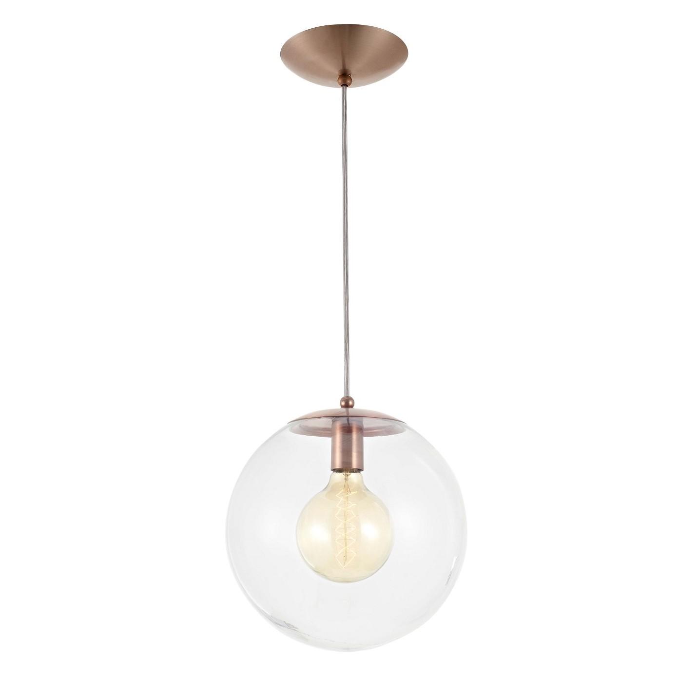 Pendente Esfera 20 cm 1 Lampada Cobre - Madelustre