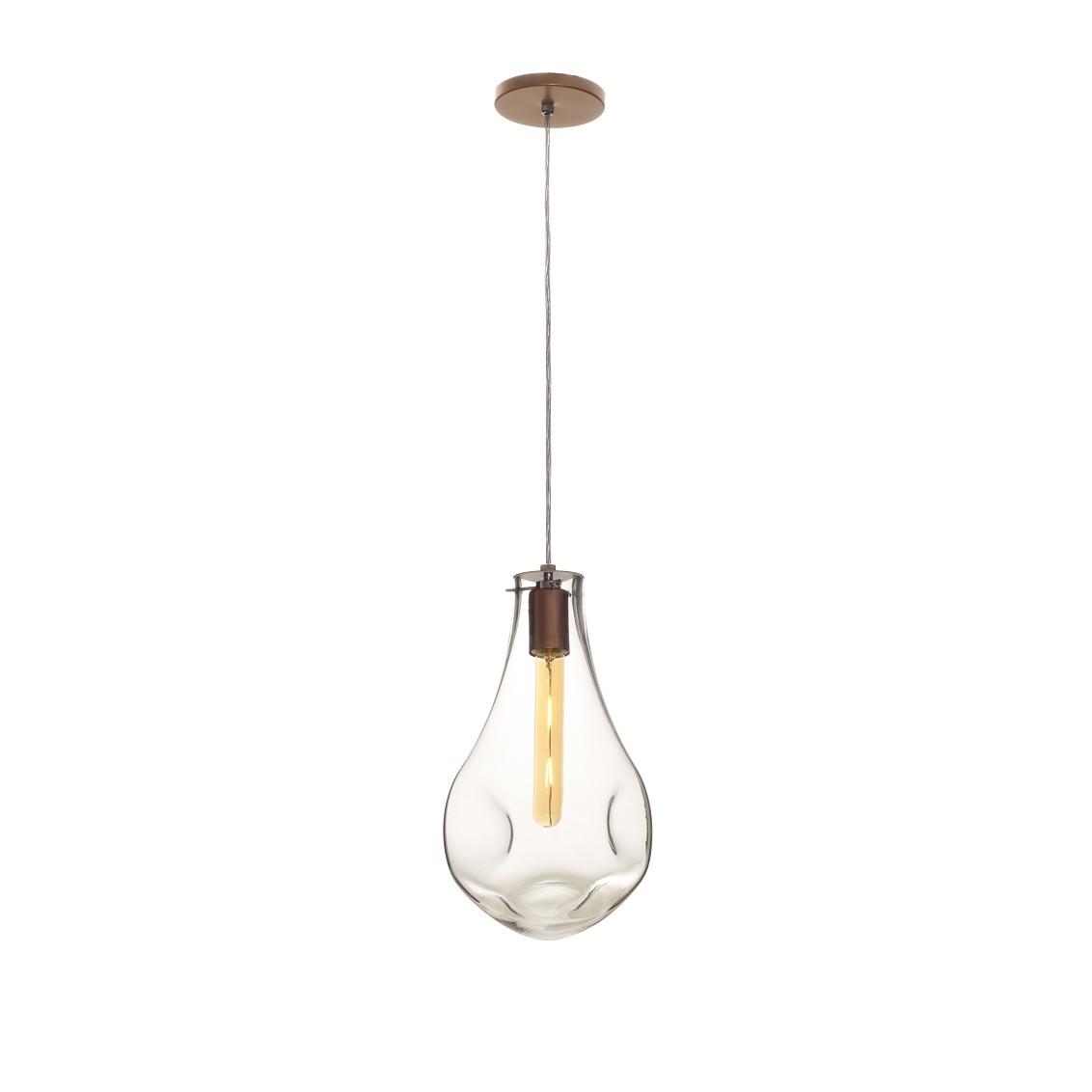 Pendente Gota Amassada 21 cm 1 Lampada Cobre - Madelustre