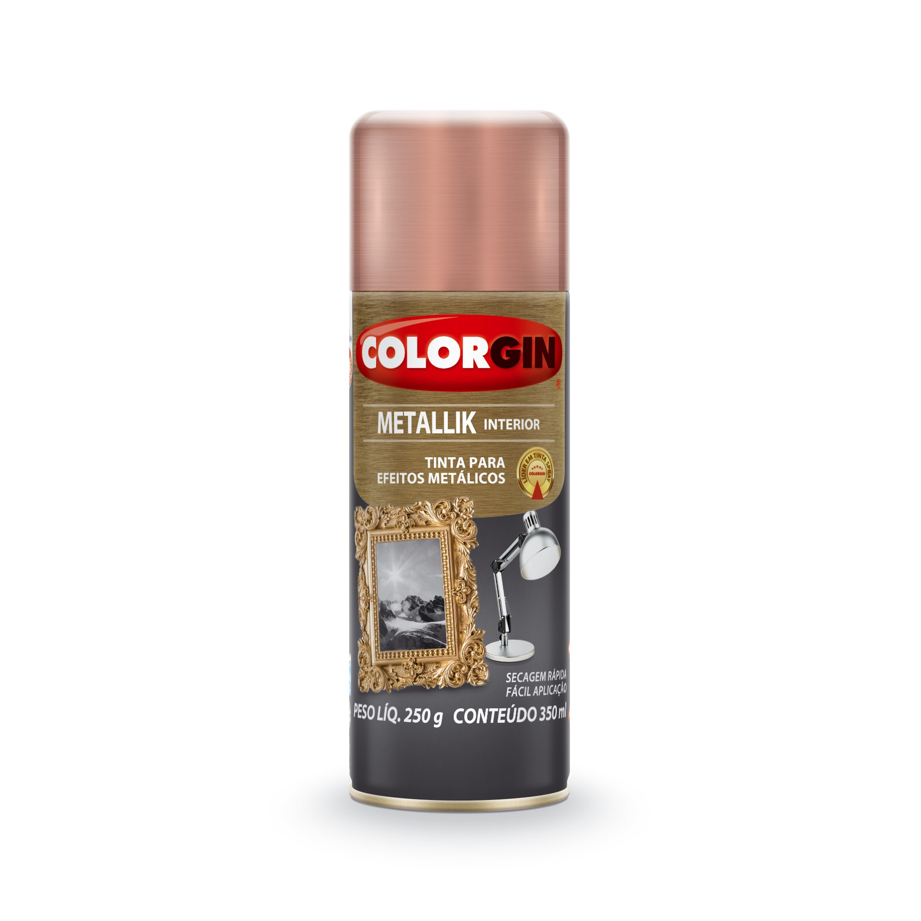 Tinta Spray Brilhante Metallik Interno - Rose - 350ml - Colorgin