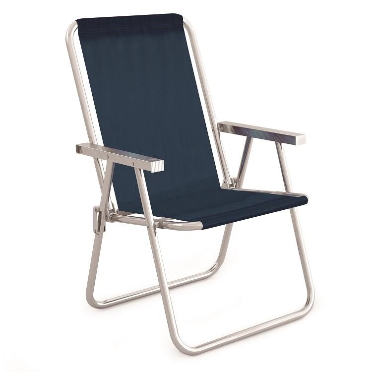 Cadeira Alta Aluminio Azul Marinho - Mor