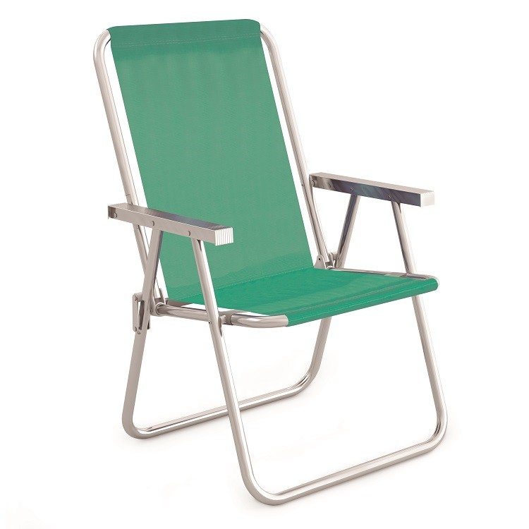 Cadeira de Praia Alta Aluminio Verde - Mor Met