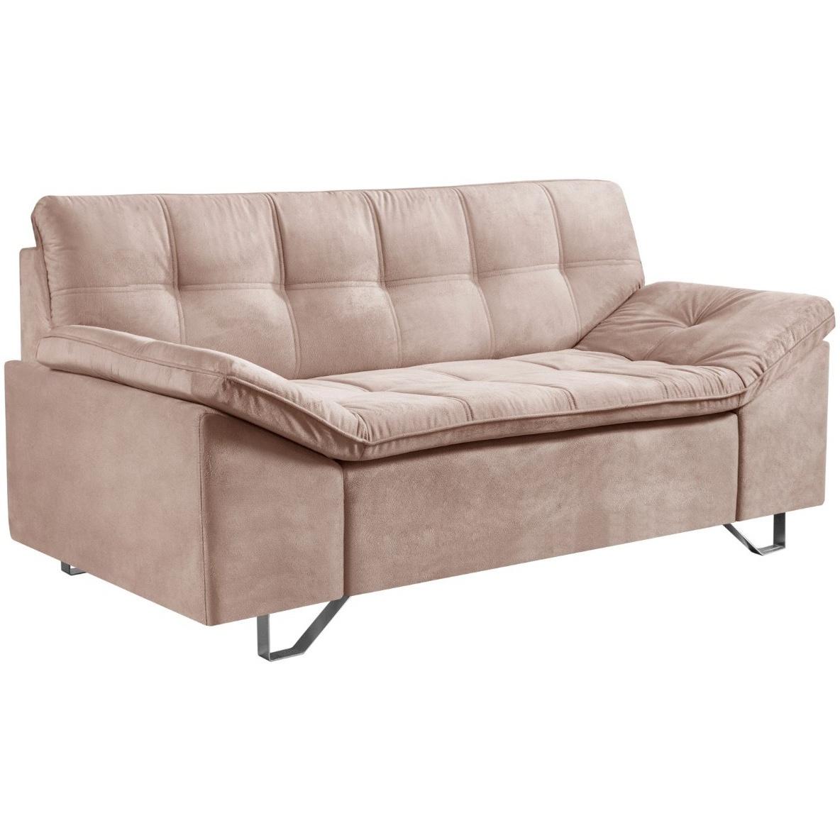 Sofa 2 Lugares Luminar Veludo Bege 175 cm - Estofart