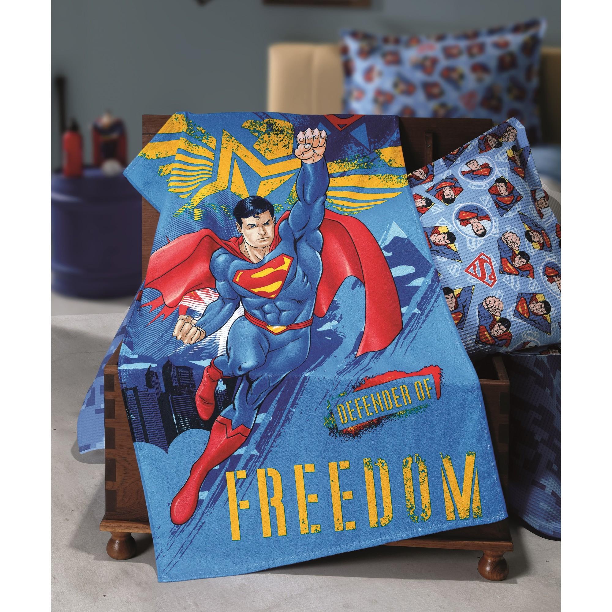 Toalha de Banho Superman 100 Algodao 70 x 115 cm - Dohler