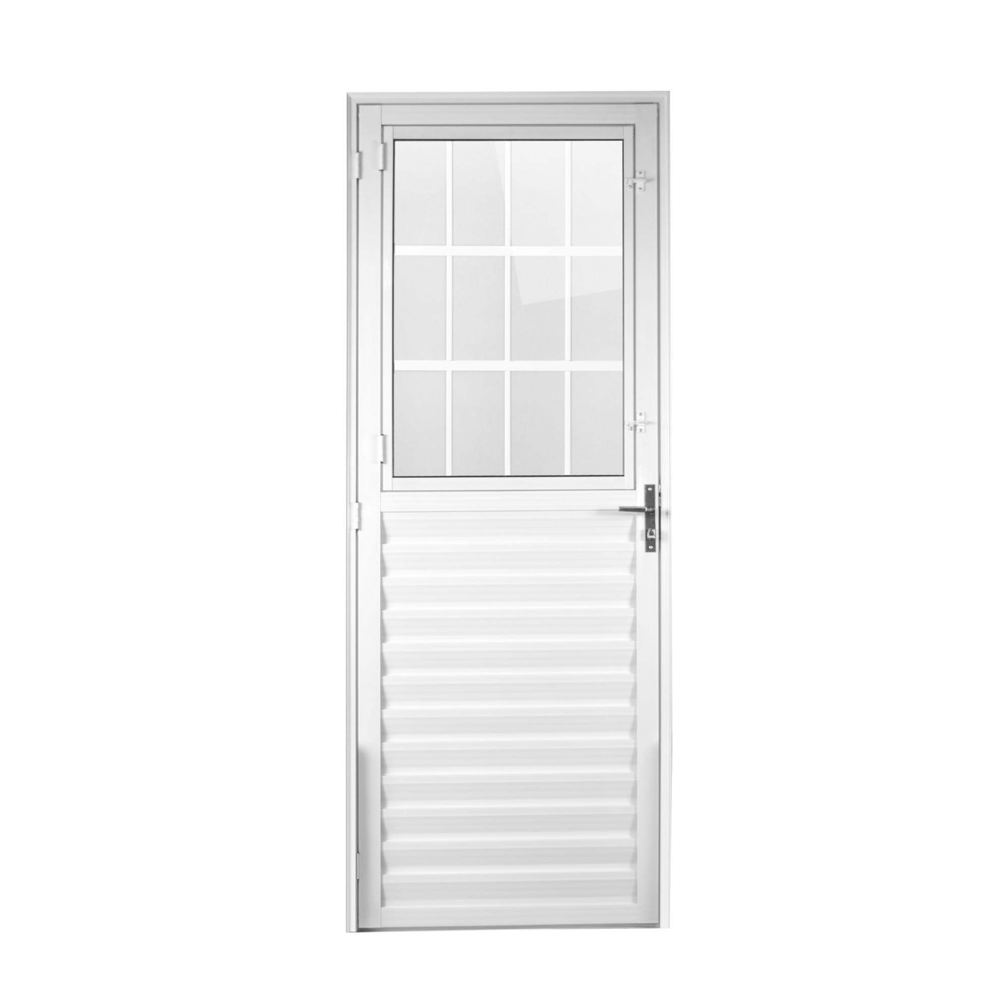 Porta de Abrir de Aluminio Postigo 210x80cm Branca Lado Direito 918245 - Aluvid