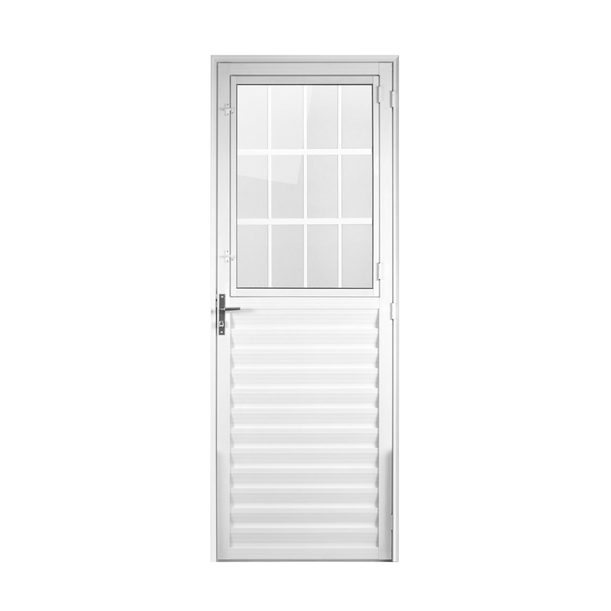 Porta de Abrir de Aluminio Postigo 210 x 80 cm Branca Lado Esquerdo - 918246 - Aluvid