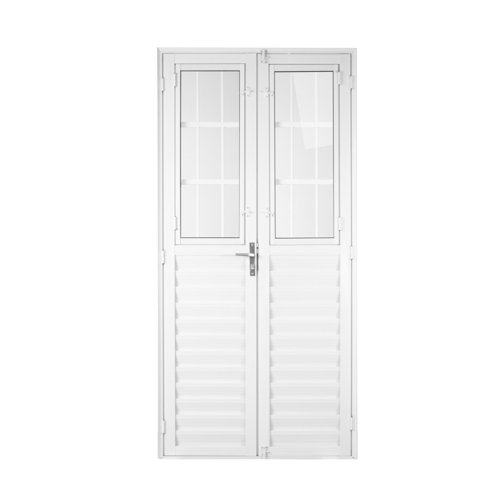 Porta de Abrir de Aluminio Postigo 2 Folhas 210 x 100 cm Branca - 31224 - Aluvid