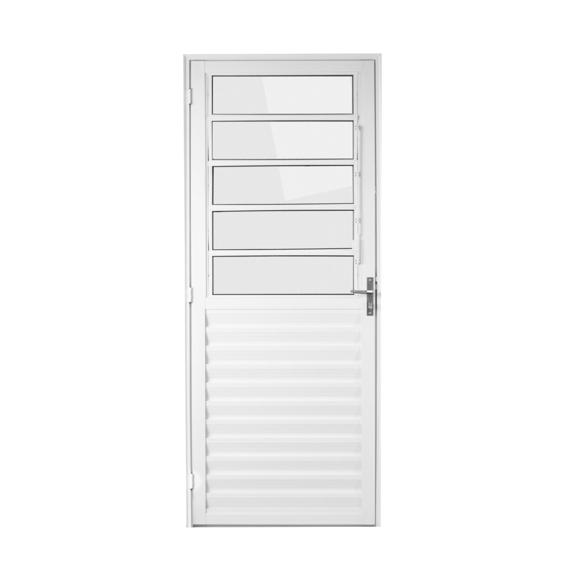 Porta de Abrir de Aluminio Basculante 210x90cm Branca Lado Direito - 33787 - Aluvid
