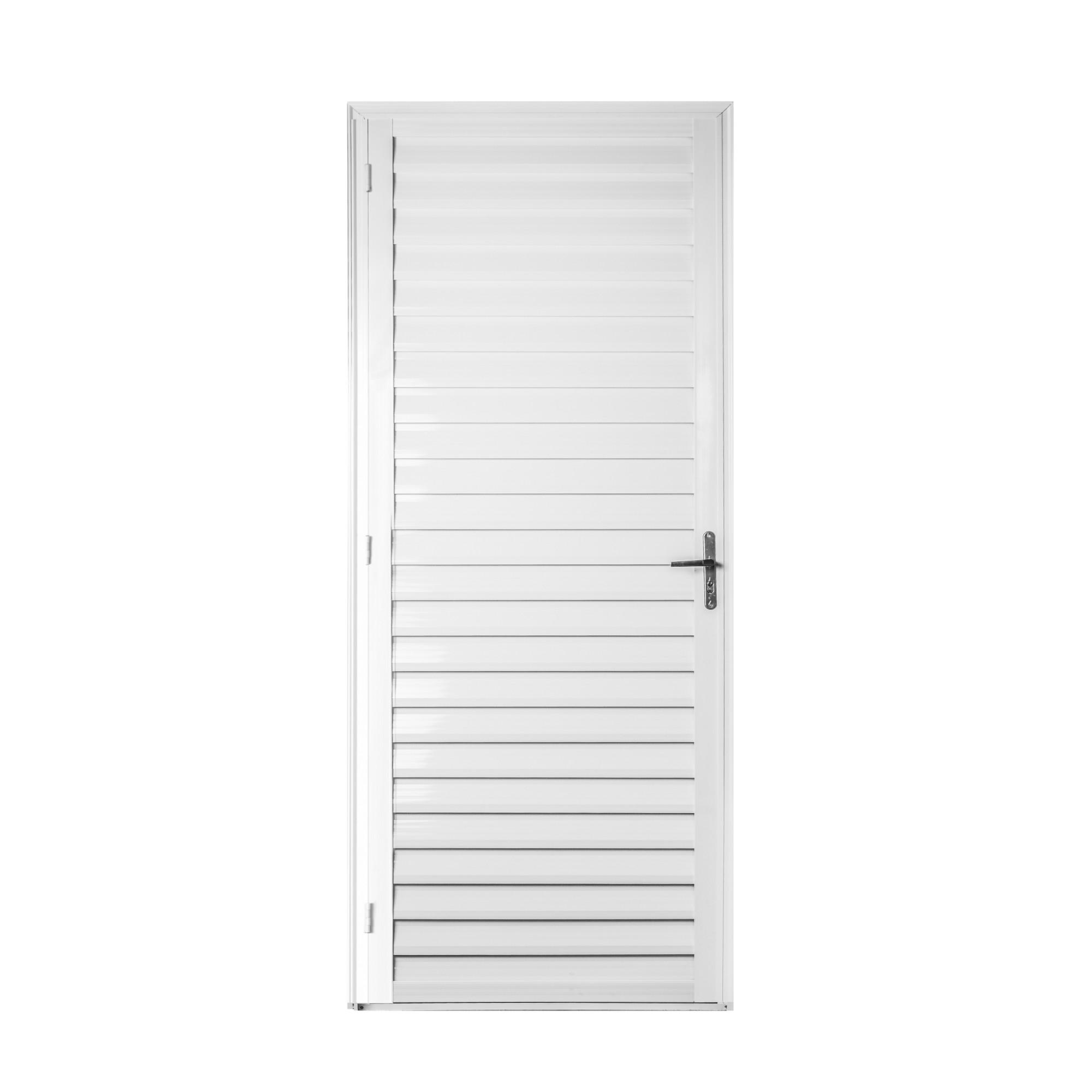 Porta de Abrir de Aluminio Veneziana 210x90 cm Branca Lado Direito - 911553 - Aluvid