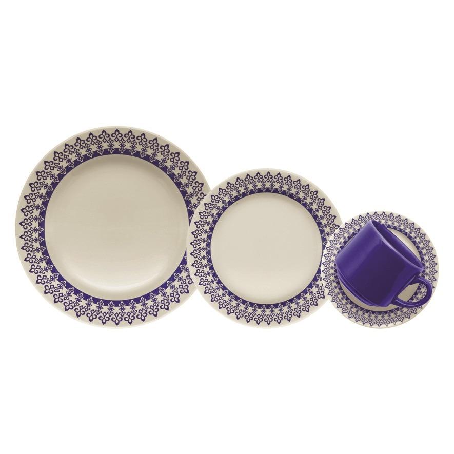 Aparelho de Jantar Donna Grecia de Ceramica 16 Pecas Azul - Biona