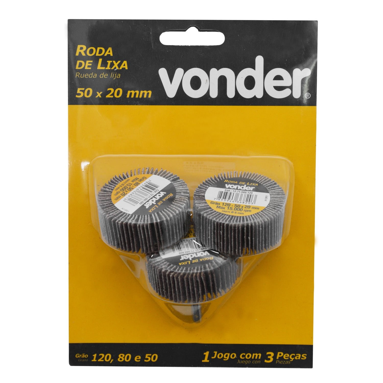 Roda de Lixa Jogo com 3 Pecas G 5080120 - 4124634 - Vonder