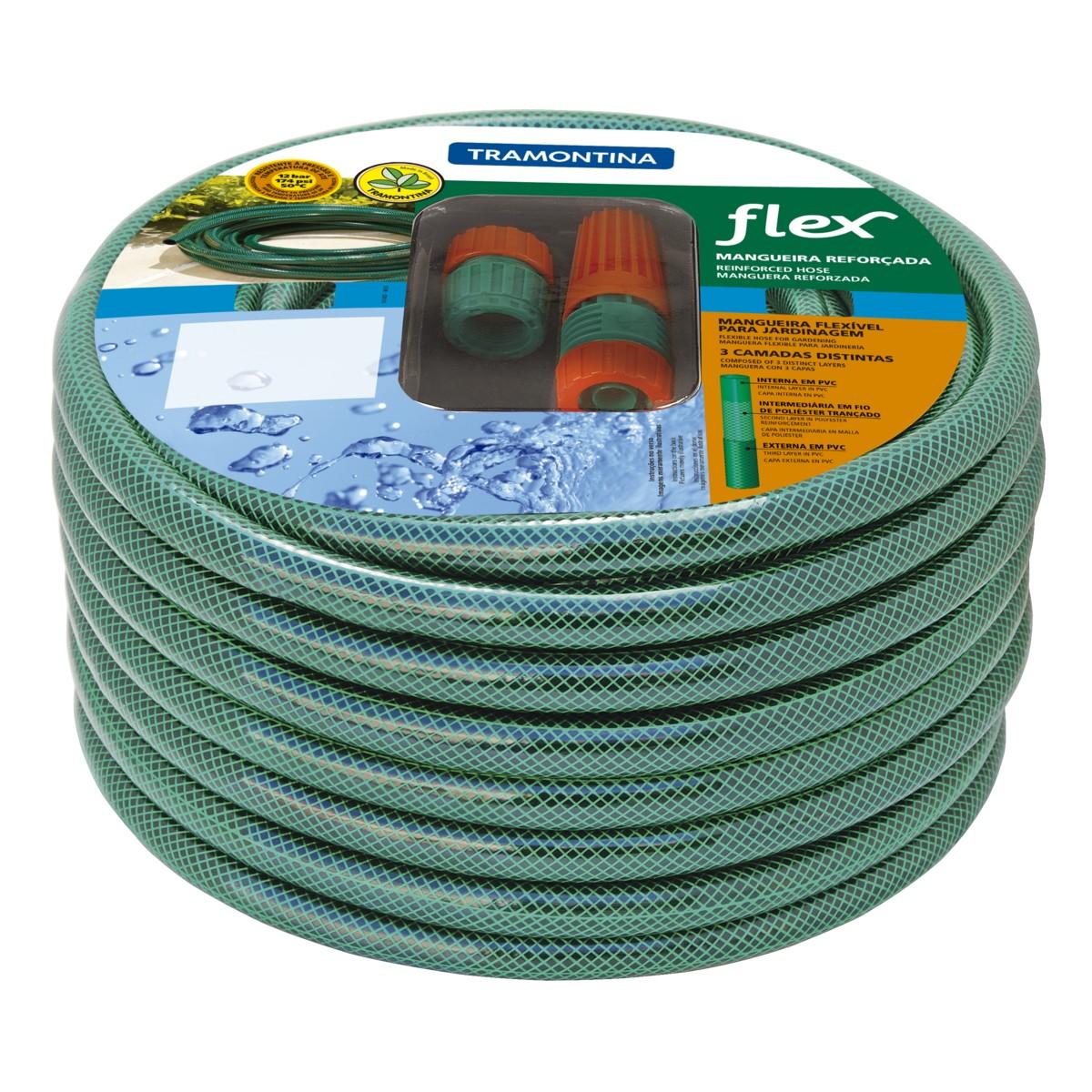 Mangueira Flex em PVC com Engate Rosqueado e Esguicho 30m Verde - Tramontina