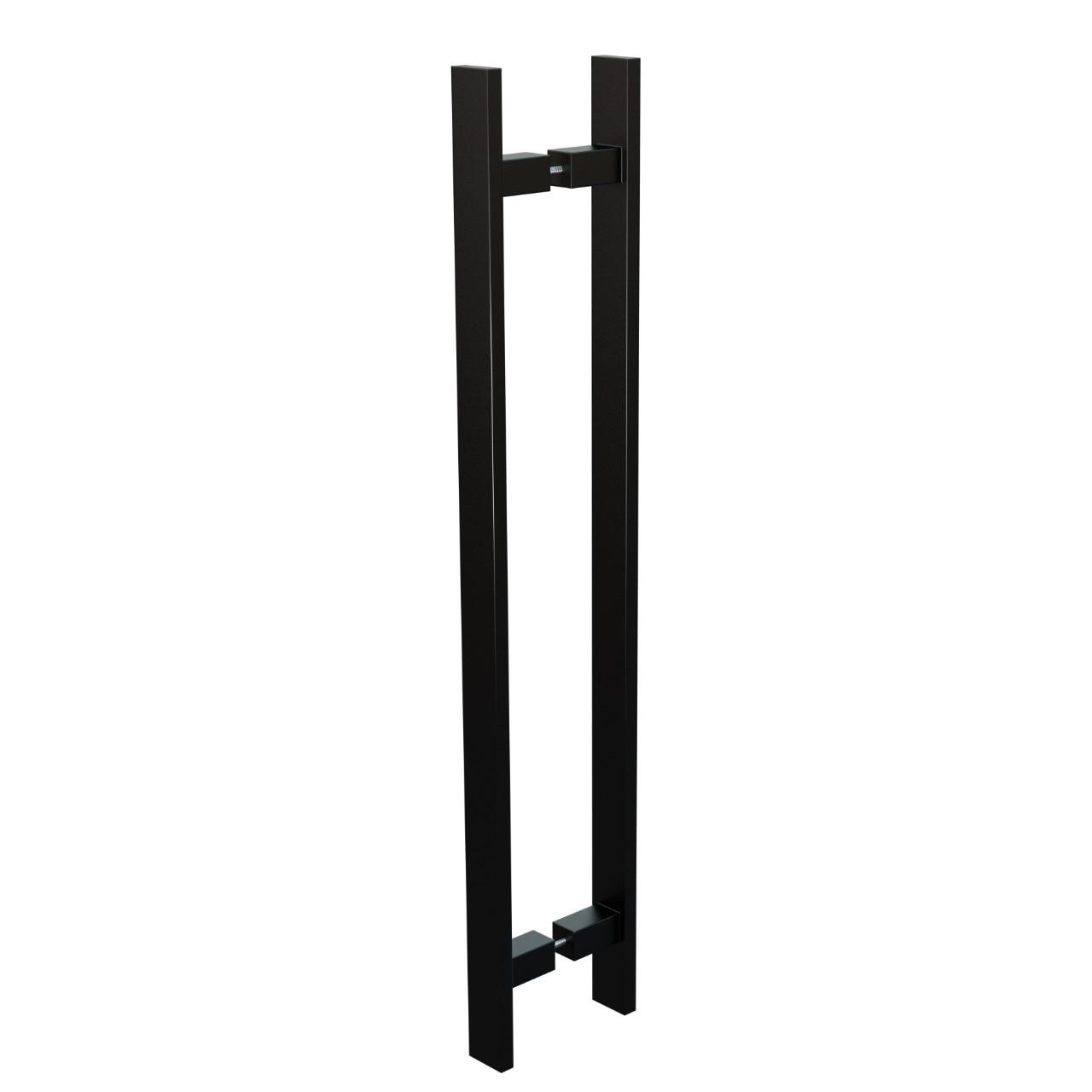 Puxador de Portas Sobrepor Aco Inox 60 cm 1 par Trio Preto - Acobrasil