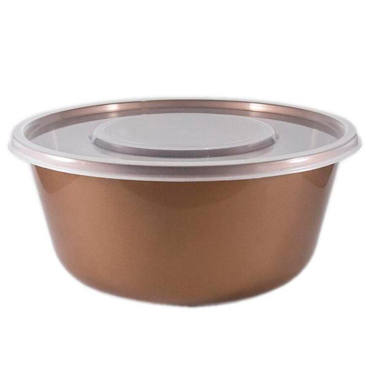 Saladeira de Plastico Bronze Redondo Com Tampa 46L - Zeek