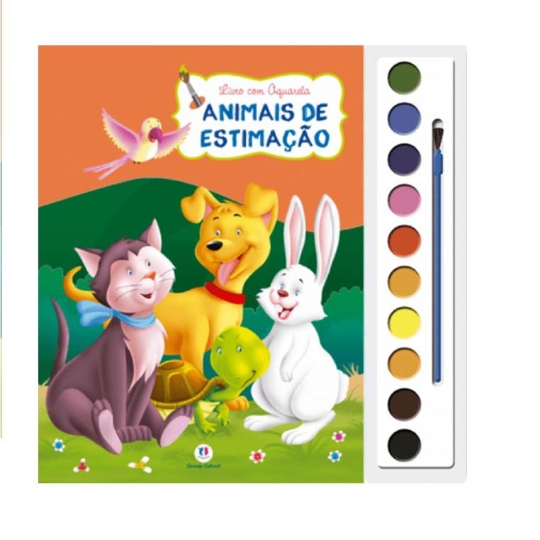 Livro Aquarela Animais de Estimacao para Colorir - Ciranda Cultural