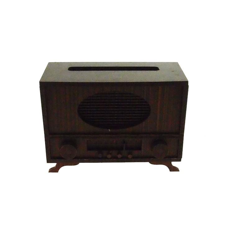 Enfeite Radio 10cm em MDF Marrom - Az Design