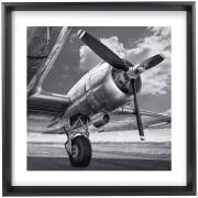 Quadro Decorativo Avião 36x46 Preto - Jolie