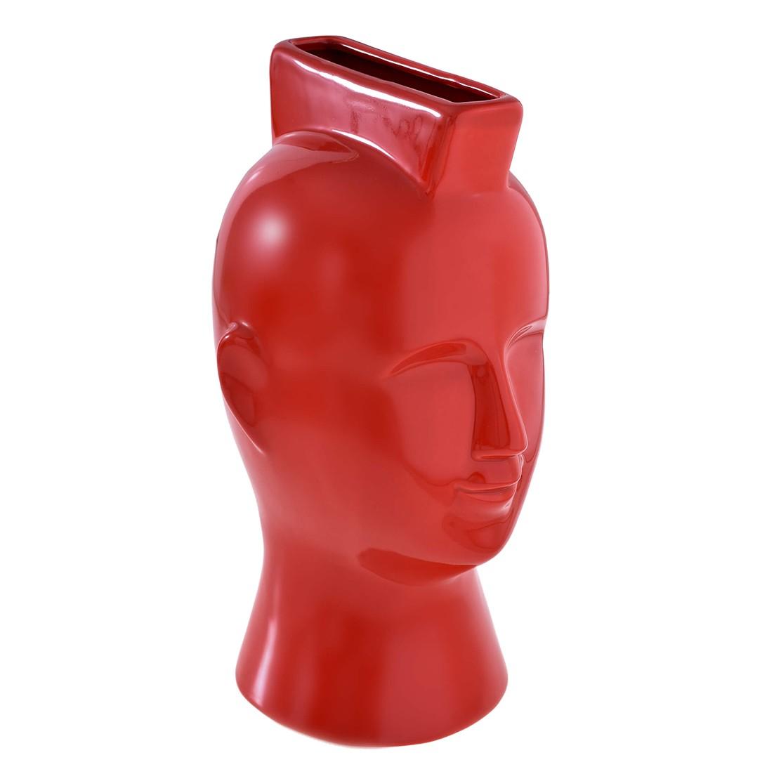 Vaso Decorativo Ceramica Modelo Cabeca 27cm Vermelho