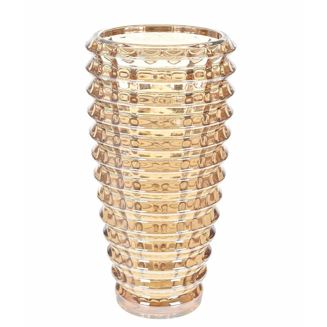 Vaso Decorativo Vidro 29cm Ondulado Ambar
