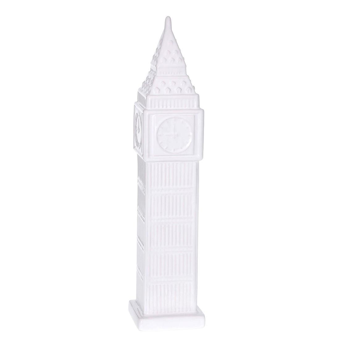 Enfeite Torre do Relogio 36cm de Ceramica Branco - GPresentes