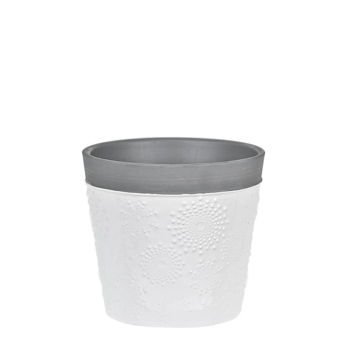 Vaso Decorativo Ceramica 13cm Redondo Branco e Cinza