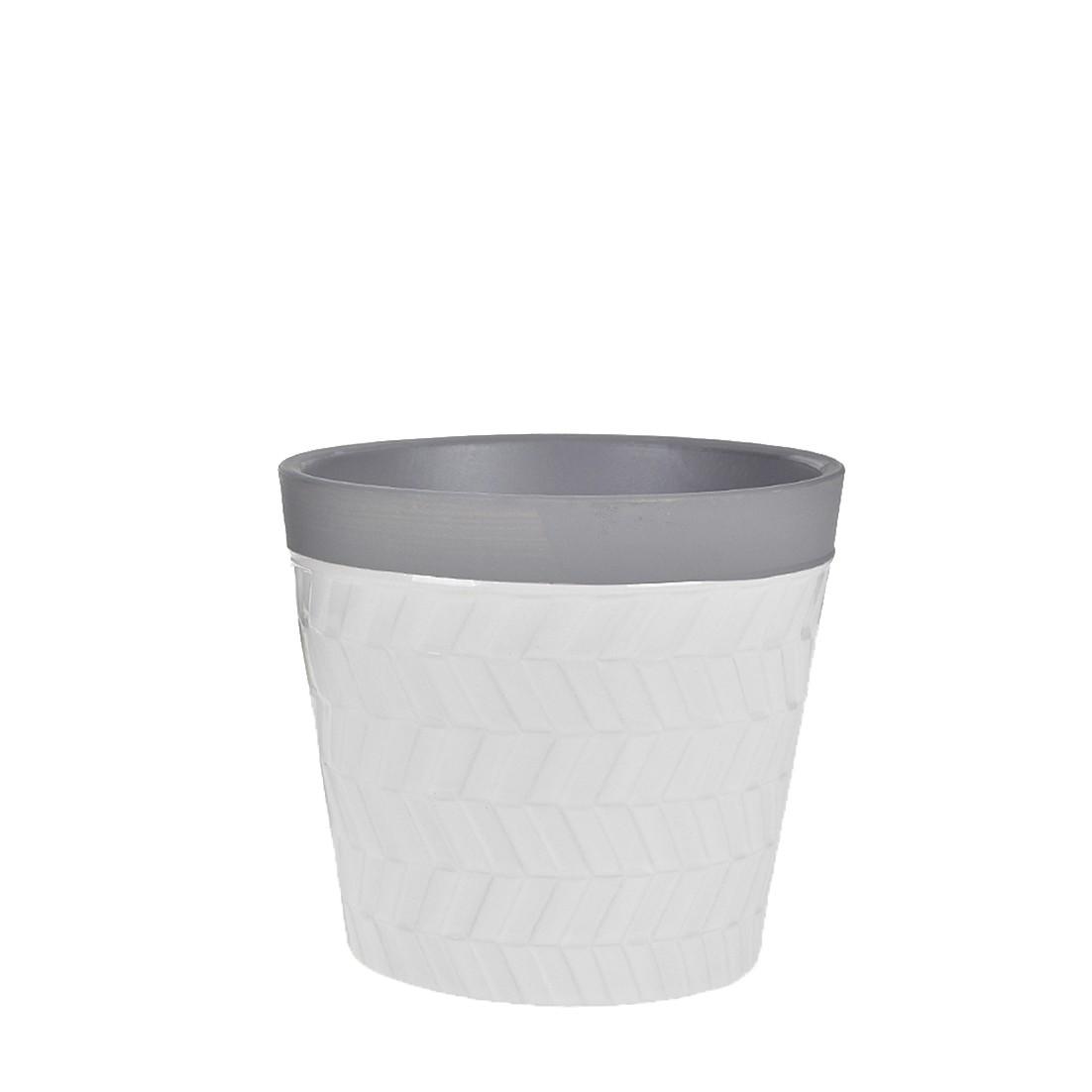 Vaso Decorativo Ceramica 13cm Redondo Branco e Cinza 50370-555