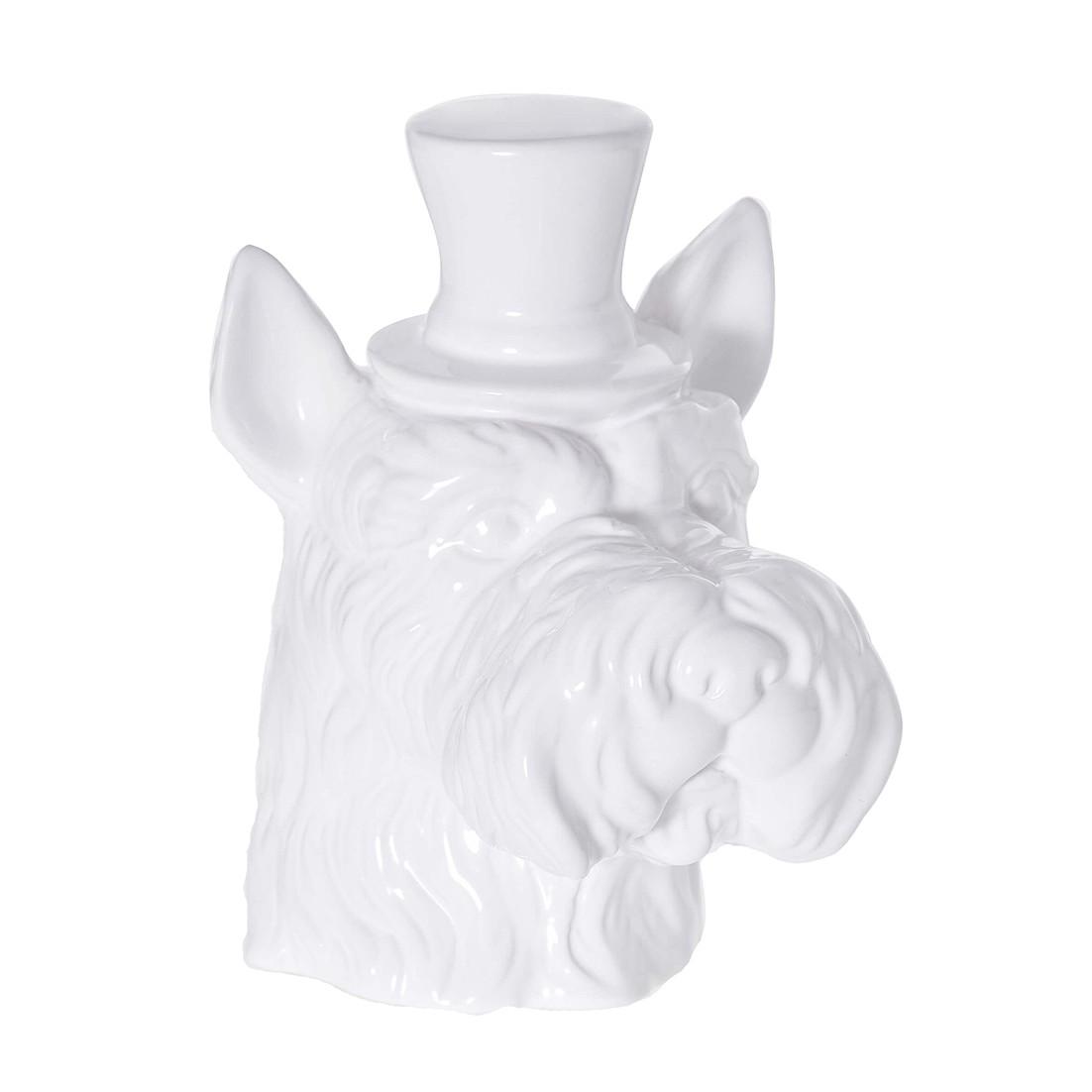 Enfeite Cachorro 18cm de Ceramica Branco 37658-008
