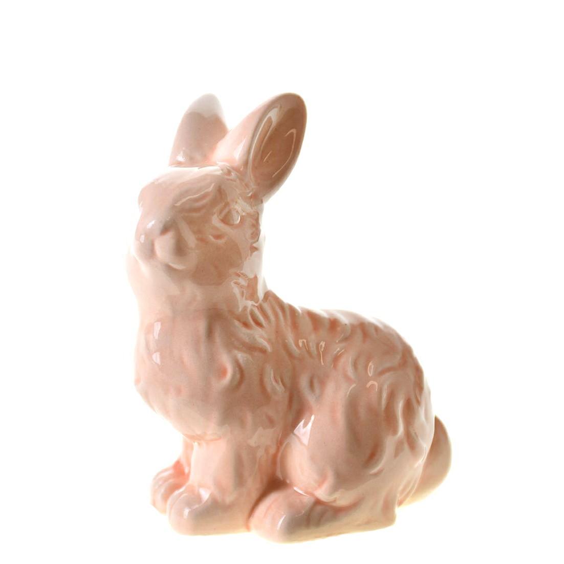 Enfeite Coelho 9cm de Ceramica Rosa 44212-018