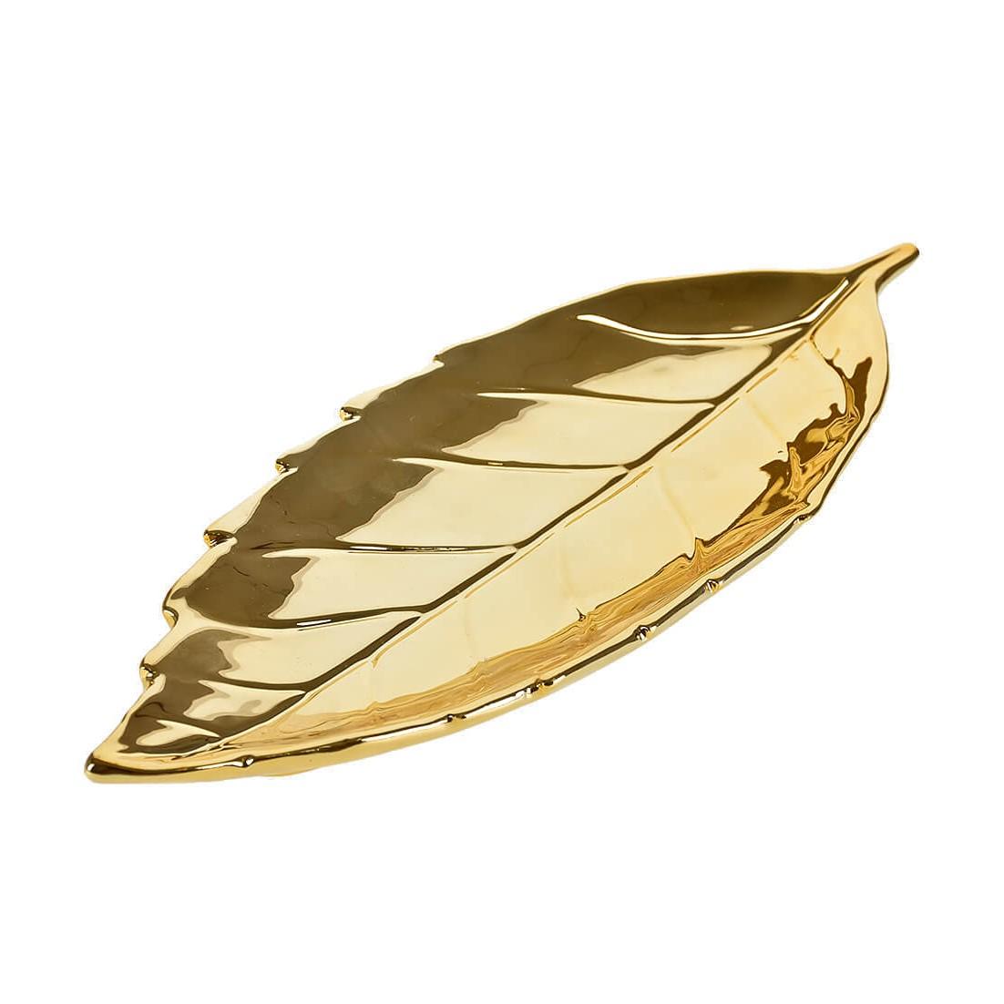 Prato Decorativo Ceramica Folha Roseira Dourado