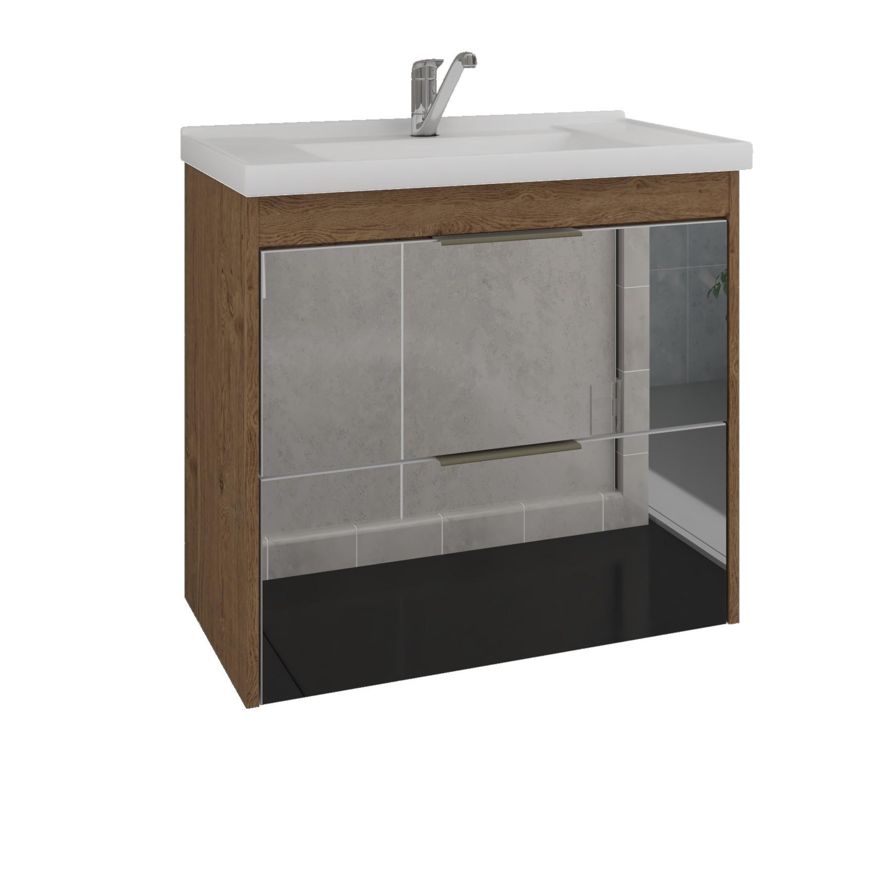 Gabinete para Banheiro 56x59x37cm Bromelia Amendoa - MGM Moveis