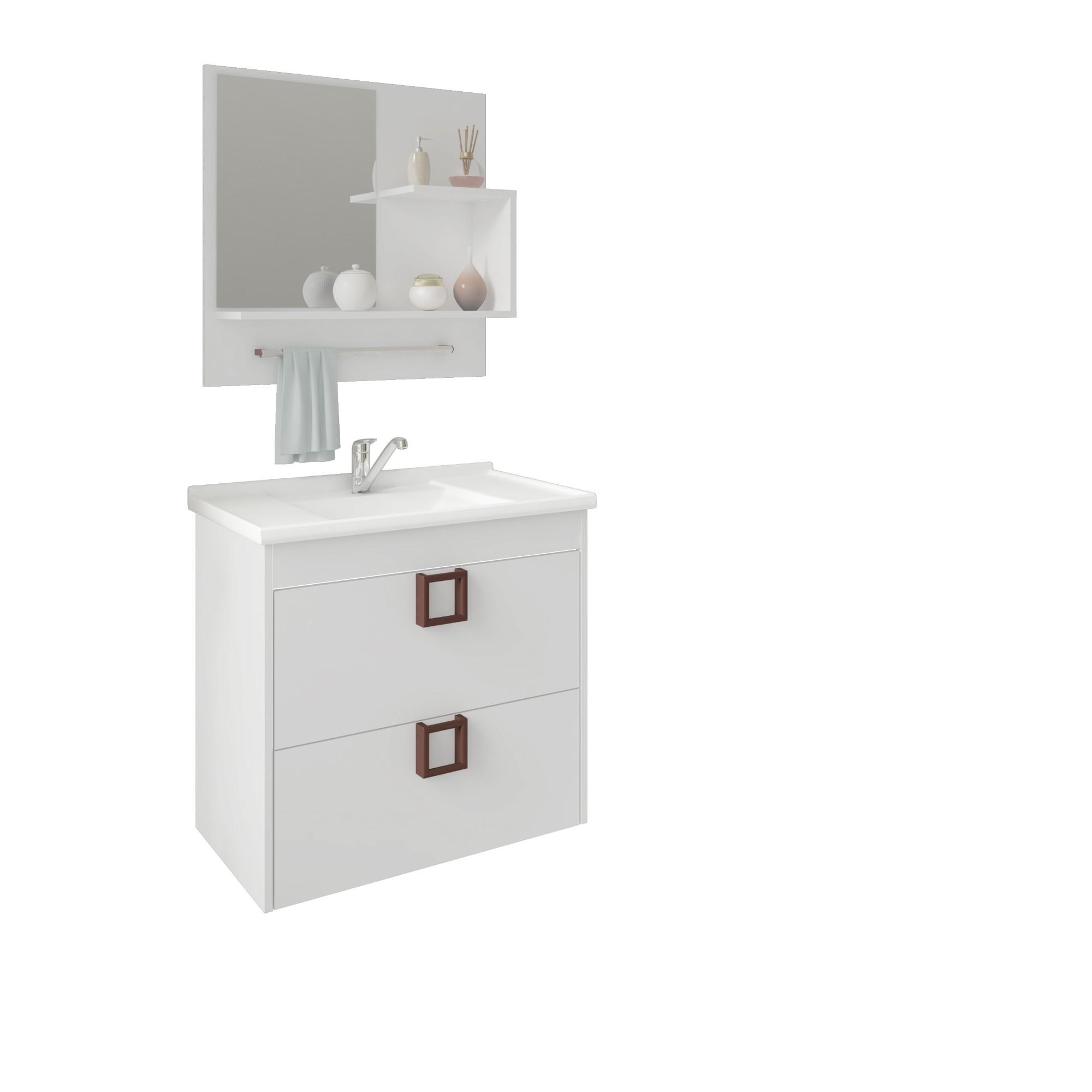 Gabinete para Banheiro 40x59x57cm Lirio Branco - MGM Moveis