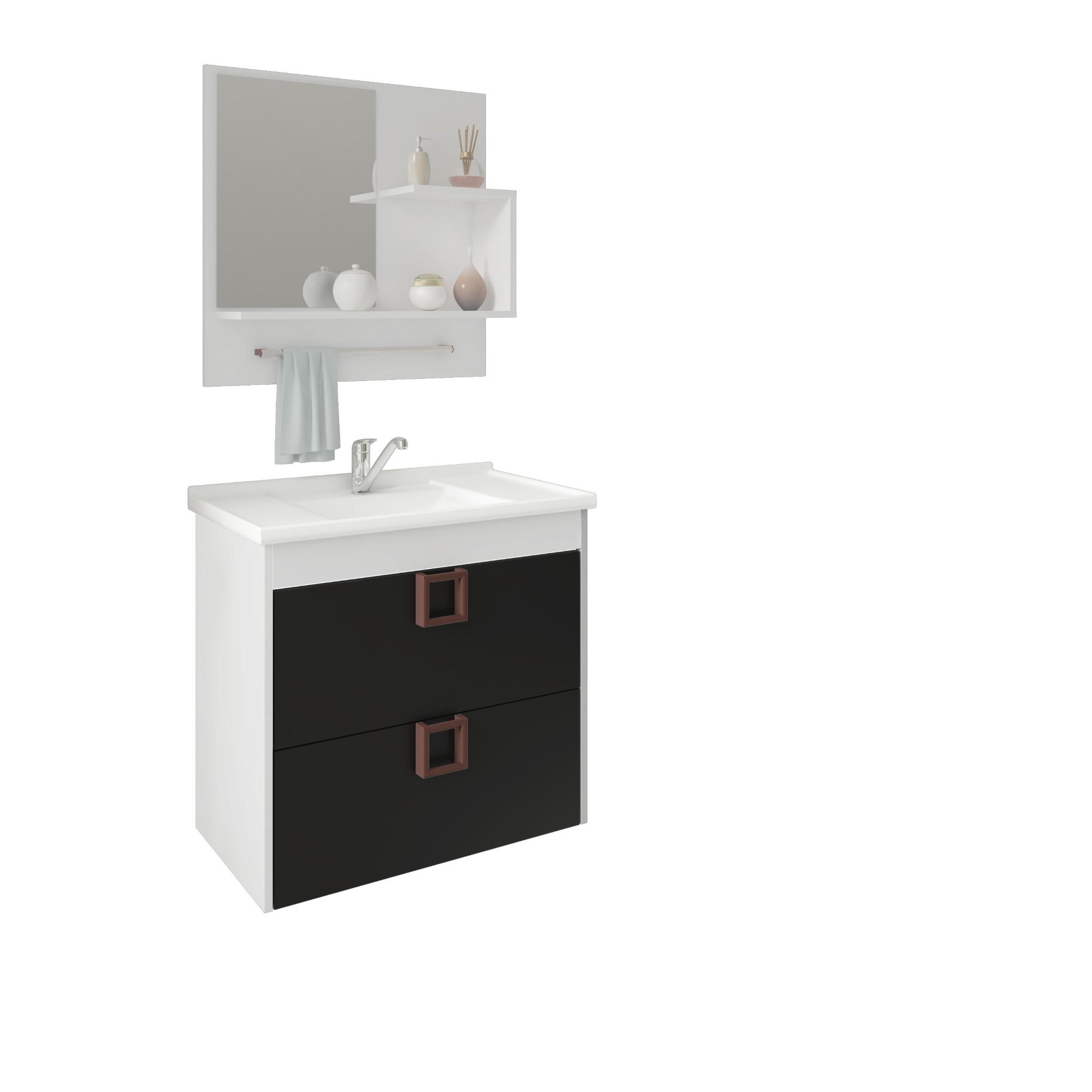 Gabinete para Banheiro 575x59x40cm Lirio Preto - MGM Moveis