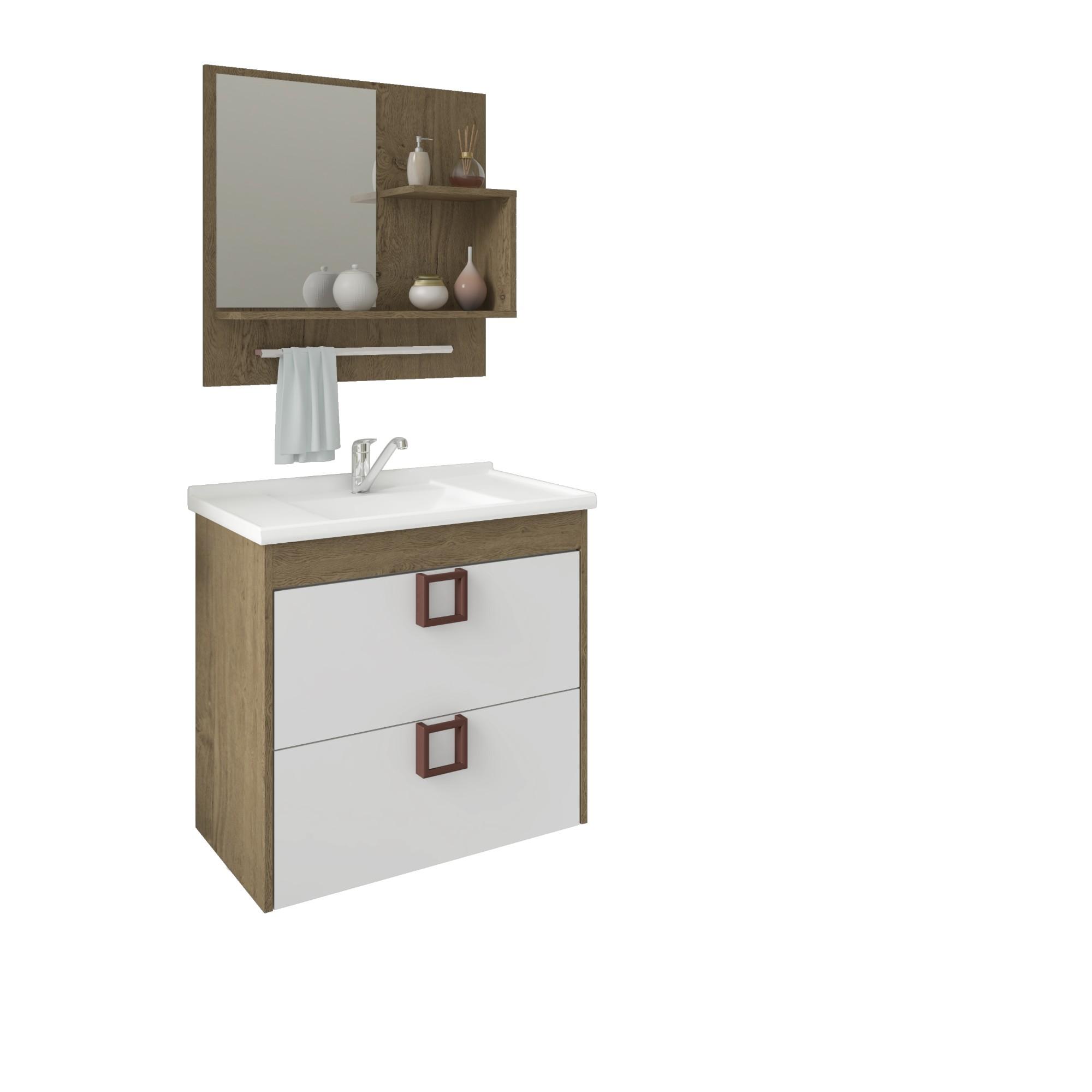 Gabinete para Banheiro 56x59x37cm Carvalho Lirio - MGM Moveis