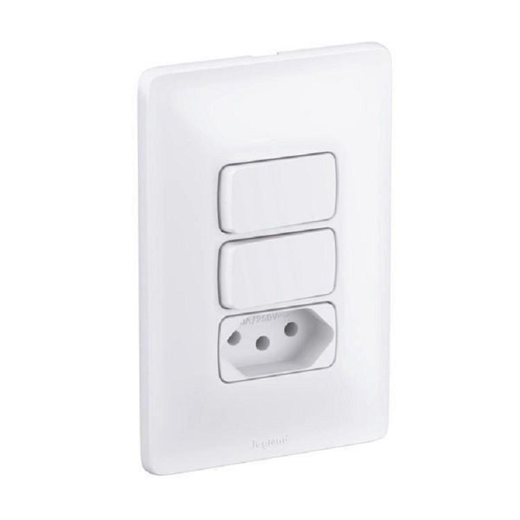Conjunto Interruptor Tomada 3 Modulos 10A - Zeffia - Pial Legrand