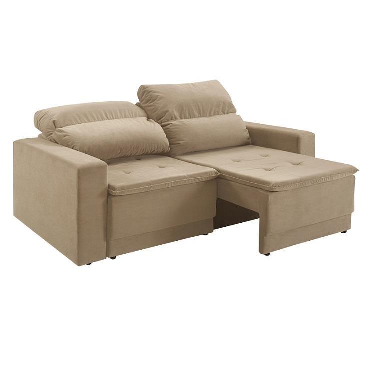 Sofa 3 Lugares Veludo 200x118x93 Reclinavel Bege - Herval