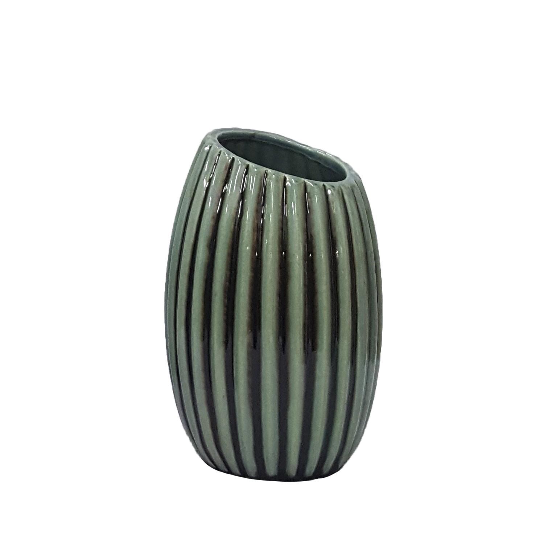 Vaso Decorativo de Ceramica 18cm Azul Jeans 2888450 - Buzzios