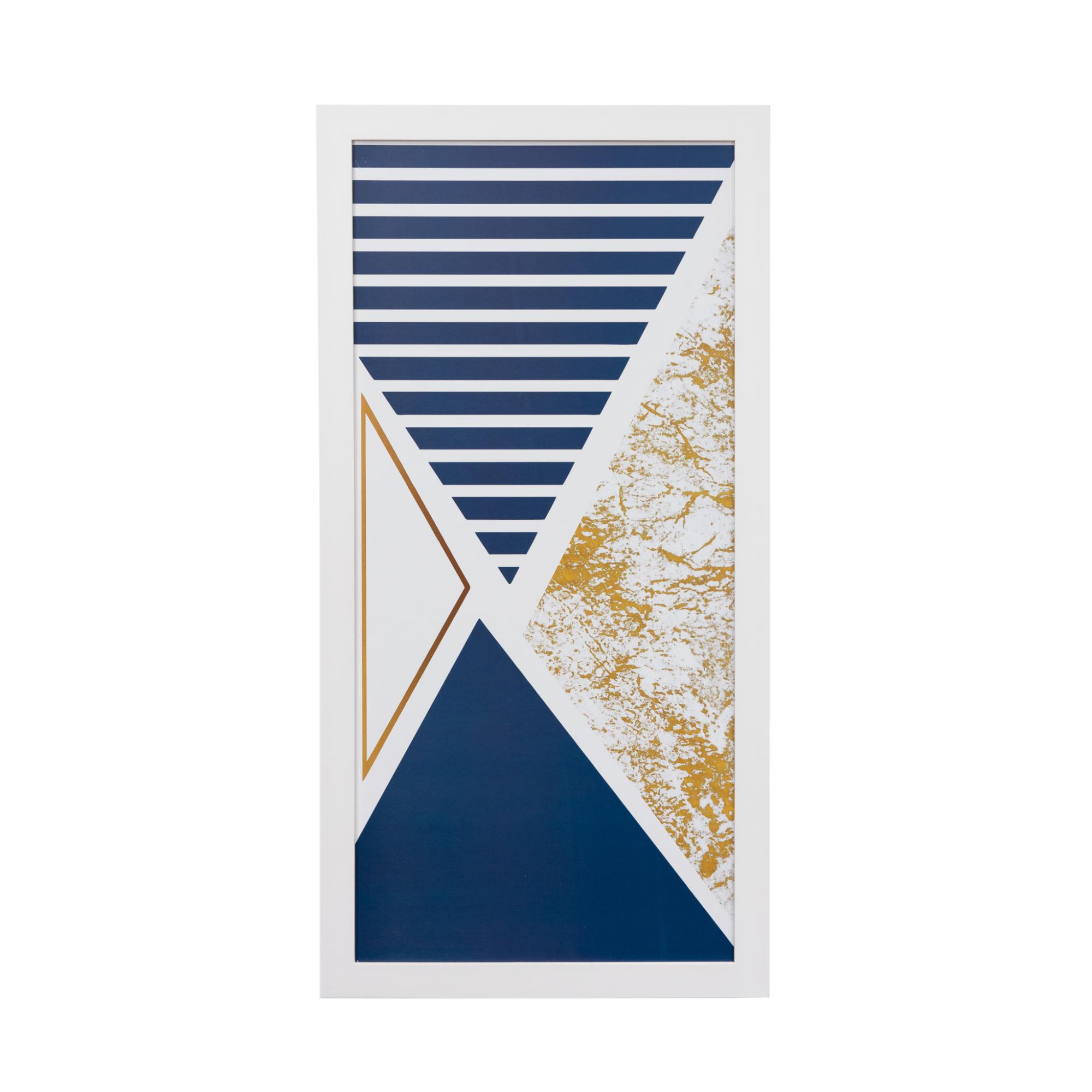 Quadro Decorativo 33x70cm Geometrico Azul e Dourado- Art Frame
