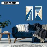 Quadro Decorativo 33x70cm Geométrico Azul e Dourado- Art Frame