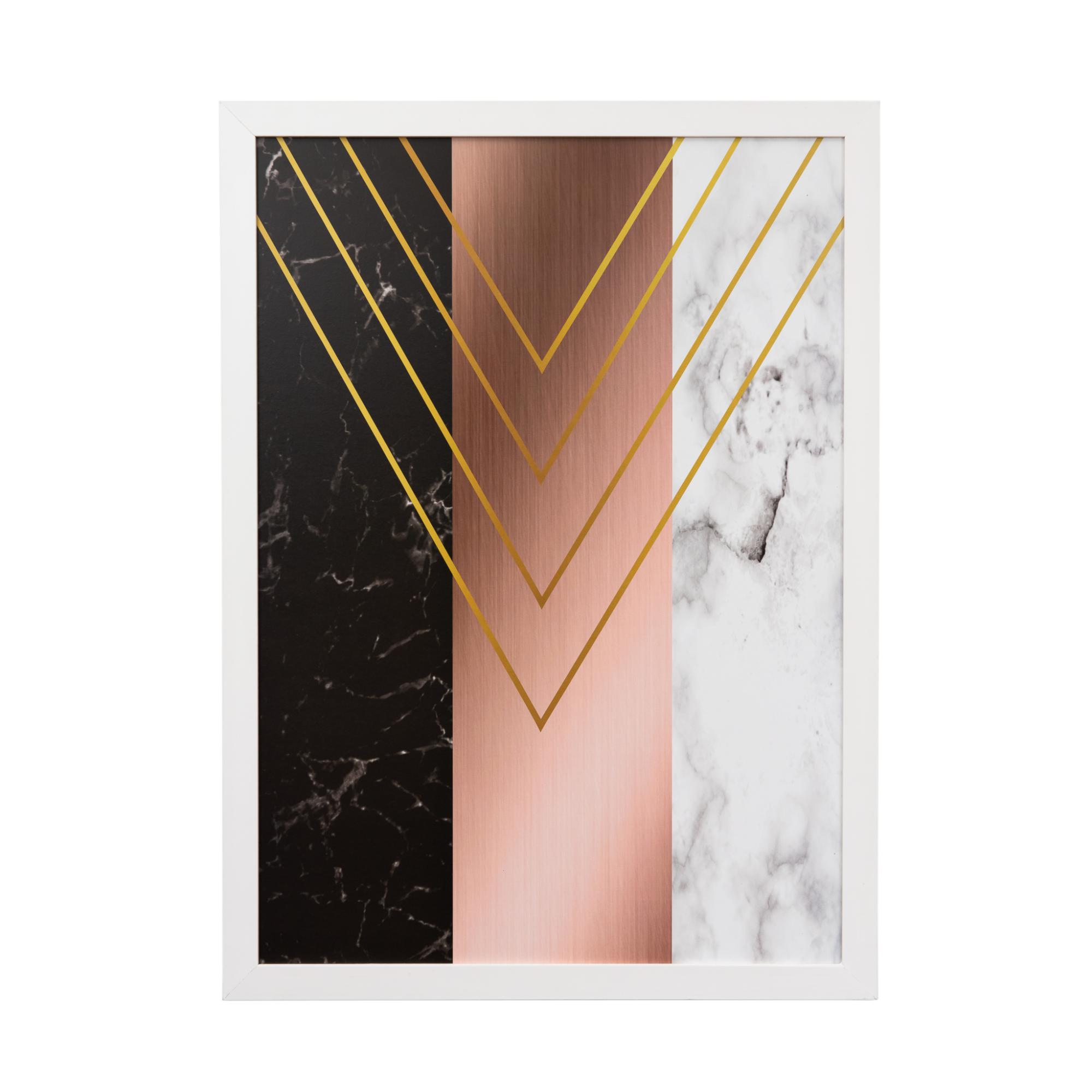 Quadro Decorativo 50x70cm Geometrico Preto e Rose - Art Frame