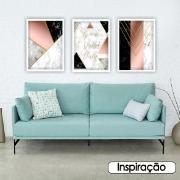Quadro Decorativo 50x70cm Geométrico Preto e Rosê - Art Frame