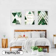 Quadro Decorativo 50x70cm Geométrico Verde - Art Frame
