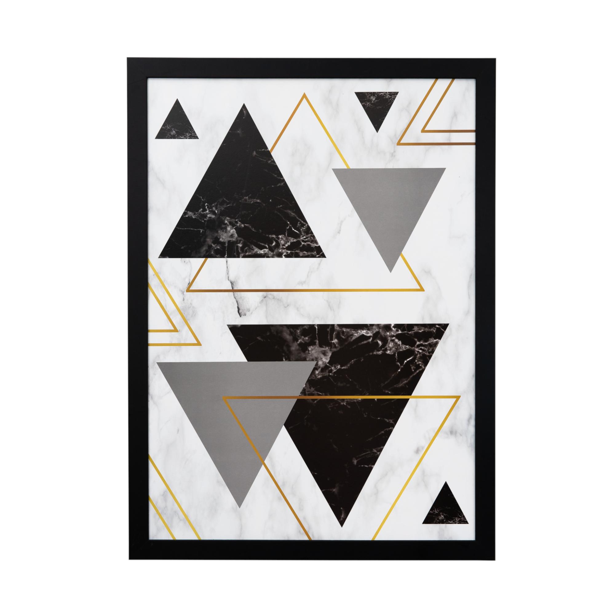 Quadro Decorativo 50x70cm Triangulos Preto - Art Frame