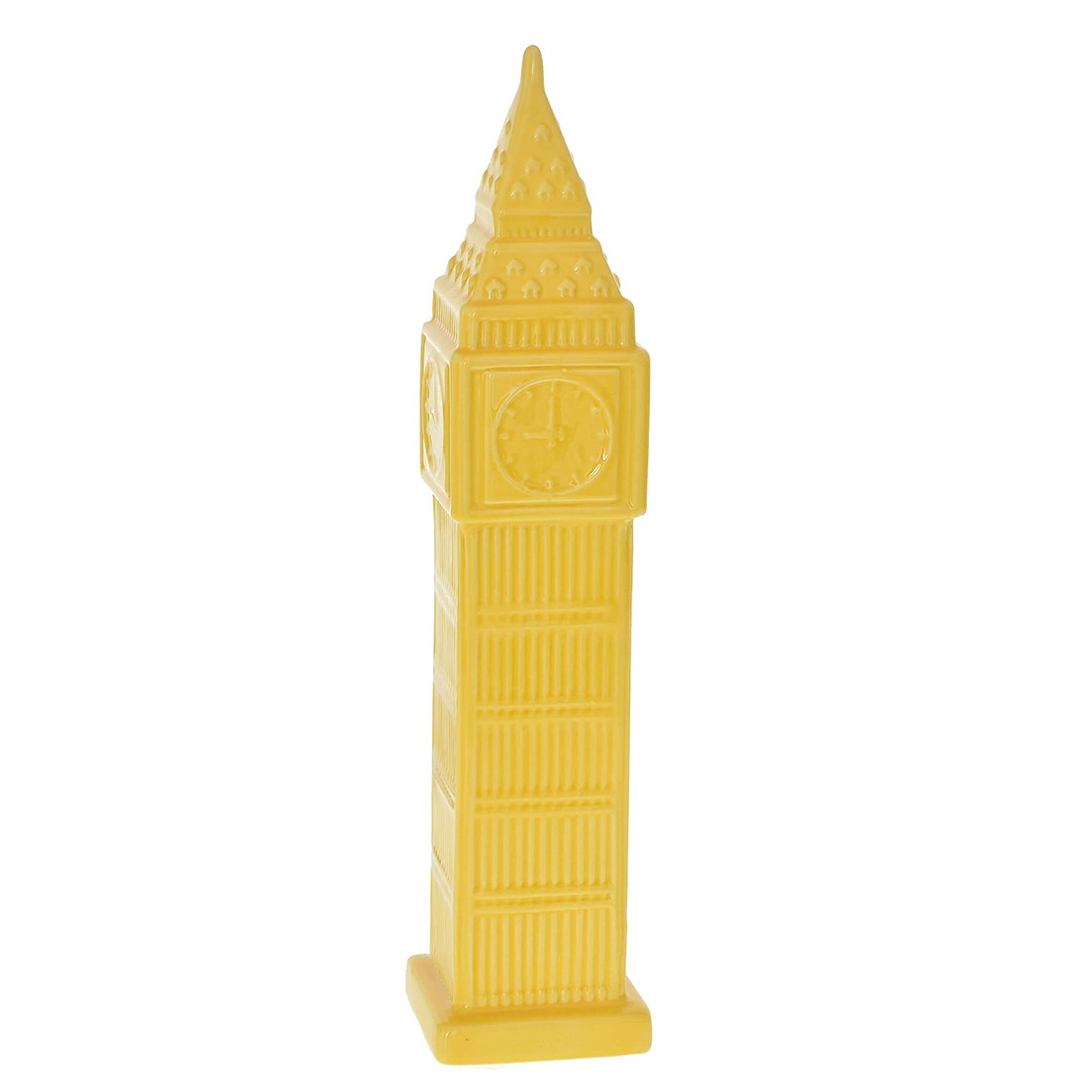 Enfeite Torre relogio 36cm de Ceramica Amarela - GPresentes