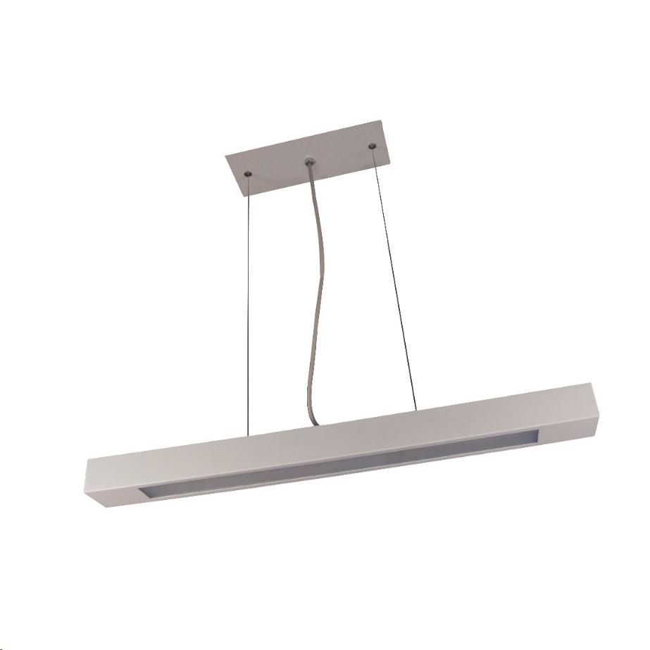 Pendente Aluminio Retangular T8 12m 2 Lampadas Branco - Goli